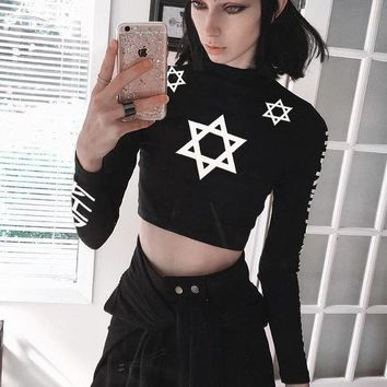 DCCKVQ8 Women Personality Letter Six-pointed Star Print Bodycon Turtleneck Long Sleeve Sweater Crop Tops