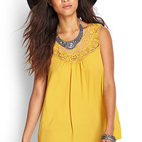 FOREVER 21 Embroidered Floral Top Mustard