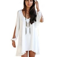Moxeay Cool Women's Oversized Round Neck A-line Casual Skirts M White
