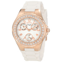 Invicta 1646 Women's Angel Jellyfish Rose Gold Steel White Dial White Rubber Strap Watch