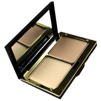 3 Colours Calm Makeup 2 Layers Dry Wet Pressed Powder Palette with Puff and Mirror