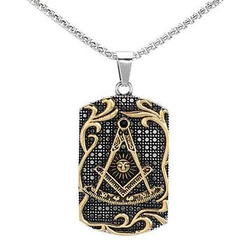 Past Master Two Tone Black Stainless Steel Masonic Pendant Necklace