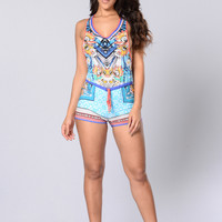 Free Your Mind Romper - Blue/Multi
