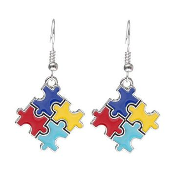 1 pair Autism Awareness Hope Puzzle Piece charm Earrings  for Women Fashion Jewelry