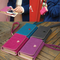 Women's PU Leather Purse Long Handbag Wallet 4Colors Compatible with iPhone 4 4S 4G