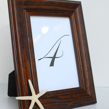 "Pencil Star Fish Dark Brown Solid Wood 4x6"" Inch Picture Frame - Minimalist Chic Beach Wedding Table Number and Coastal Home Photo Decor"