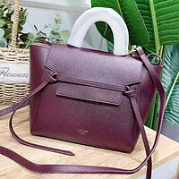 CELINE New fashion solid color leather shoulder bag women handbag Burgundy
