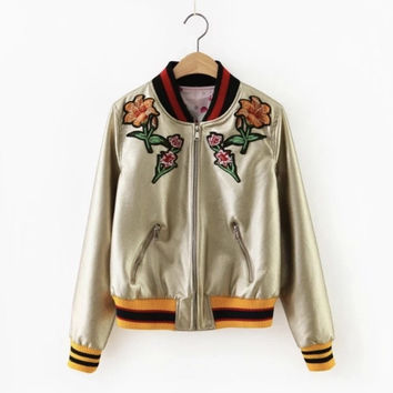 Flower Power Satin Bomber