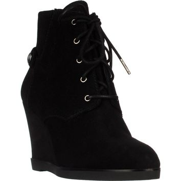 MICHAEL Michael Kors Carrigan Wedge Knit Cuff Lace Up Ankle Boots, Black, 11 US / 42.5 EU