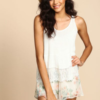 EMBROIDERED LACE AIRY CREPE TOP