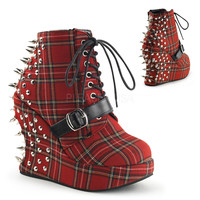 5 Inch Red Plaid Wedge With Spike and Stud