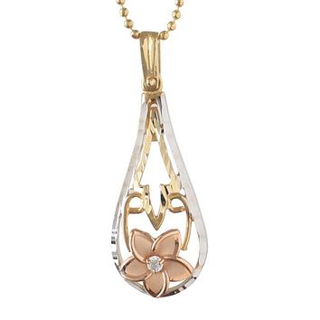 14K PG/YG/WG Tri-color Plumeria Drop Pendant(Chain Sold Separately)