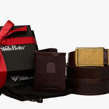 Brown Top Grain Leather Belt and Wallet