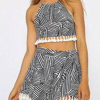 Black and White Striped Tassels Crop Top And Shorts
