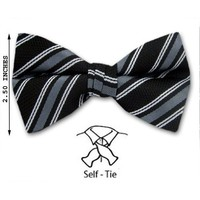 FBTS-8007 - Black - Gray - White - Mens Self - Tie Bow Tie