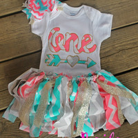 first birthday outfit girl, 1st birthday outfit, pink chevron outfit, pink aqua, baby party dress, cake smash outfit girl, cake smash set