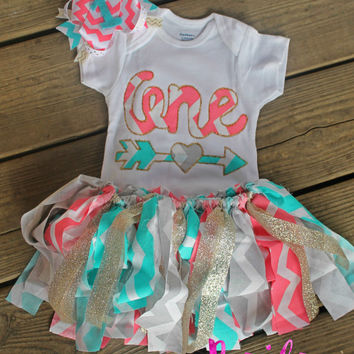 First Birthday Outfit Girl 1st Pink Chevron Ou
