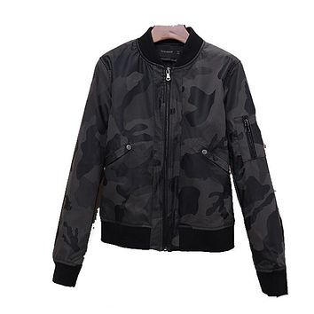 New Spring Autumn Women Camouflage PU Leather Jackets Casual Military Outwear Motor Biker Punk Jackets