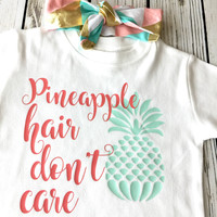 Pineapple Hair Don't Care Coral & Mint Onesuit or Tee