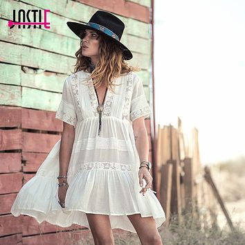 Jastie Casual Loose Summer Dress Women Cute Mini Dresses V-Neck Embroidery Lace Dress Hippie Gypsy Style Beach Boho Vestidos