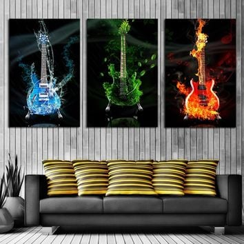 3 Panels Frameless Red&Green&Blue Guitar Wall Art Pictures Print On Canvas Painting For Home Kitchen Decoration