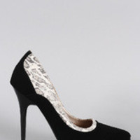 Women's Qupid Snake Print Pointy Toe Stiletto Pump
