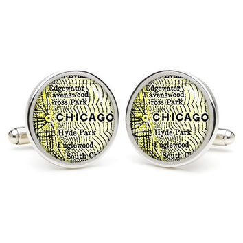 Chicago city map  cufflinks , wedding gift ideas for groom,gift for dad,great gift ideas for men,groomsmen cufflinks,