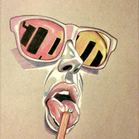Original Artwork, Pastel Artwork, Sunglasses, 11x13, Summertime, Tongue Ring, Female Artwork, Bedroom Art, Bathroom Art, Office Artwork