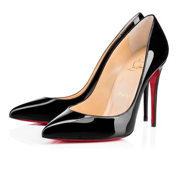 Christian Louboutin Cl Pigalle Follies Black Patent Leather 100mm Stiletto Heel