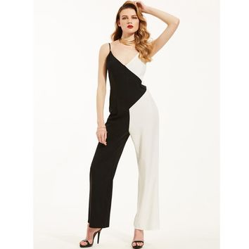 Kinikiss 2017 Summer Women Jumpsuits Rompers Brief Black White Color Blocking Spaghetti Strap Fashion Straight Elegant Jumpsuits
