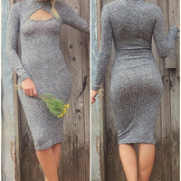 Cabin Retreat Long Sleeve Gray Sweater Dress With Keyhole Cutout