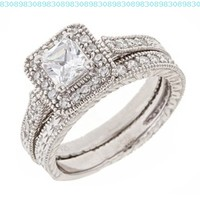 Vintage Engraved Cubic Zirconia CZ Engagement Ring Set in Sterilng Silver:Amazon:Jewelry