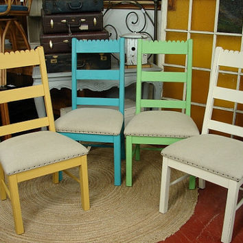Reclaimed Vintage Amish Painted Distressed Dining Kitchen Ladderback Chair Chairs SET 4 Colors 135 Each - CALL for a SHIP Quote