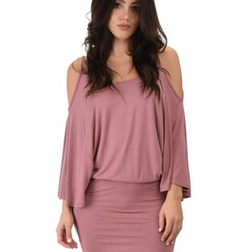 Lyss Loo Game Changer Cold Shoulder Mauve Dolman Dress