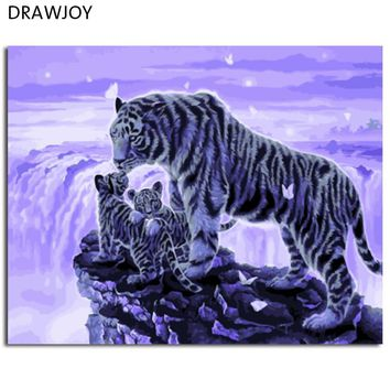 DRAWJOY Framed Animal Tiger DIY Painting By Numbers On Canvas Painting And Calligraphy Wall Art For Home Decor 40x50