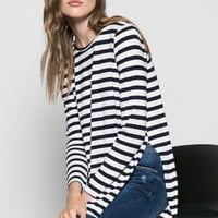 Stripes High Low Hip-length T-shirt