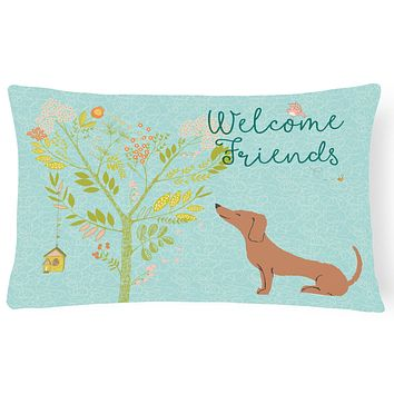 Welcome Friends Red Dachshund Canvas Fabric Decorative Pillow BB7631PW1216