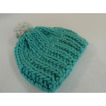 Handcrafted Knitted Hat Beanie Aqua Pom Pom Slouchy 100% Merino Wool Female -- New No Tags