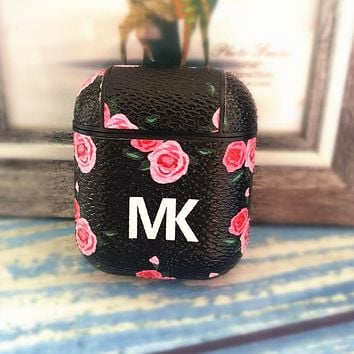 MK Popular Women Chic iPhone Airpods Headphone Case Wireless Bluetooth Headphone Protector Case(No Headphones) Black