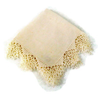 Vintage Hankie Irish Linen with Delicate Hand Crochet, White, Ladies Handkerchief