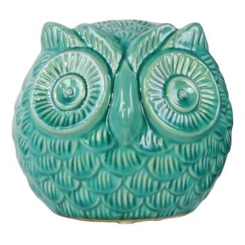 Ceramic Gloss Finish Turquoise Spherical Owl Figurine