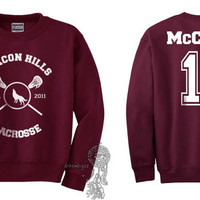 Beacon Hills Lacrosse WL McCall 11 Scott McCall printed on Maroon Crewneck Sweatshirt