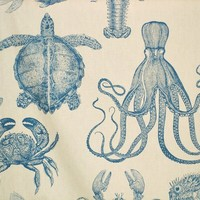 Lobster fabric squid turtle blow gold fish crab turquoise from Brick House Fabric: Novelty Fabric