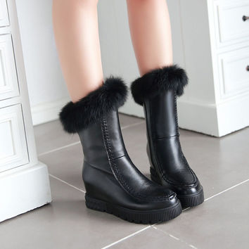 Fur Wedges Boots Women Shoes Fall Winter 1608