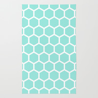 Honeycomb Tiffany Blue Rug by Beautiful Homes