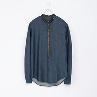 DENIM SHIRT WITH LEATHER CONTRAST DETAILING - Slim Fit - Shirts - Man | ZARA United States