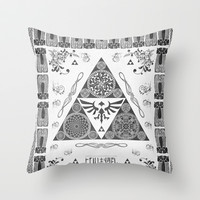 Legend of Zelda Kingdom of Hyrule Crest Letterpress Vector Art Throw Pillow by Barrett Biggers