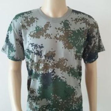 Mens Camouflage Camo Military Army Outdoors Hunting Fishing T Shirt Cotton Green
