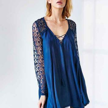 Ecote Aura Embroidered Mesh Sleeve Dress