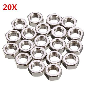 20Pcs M5 Stainless Steel Metric Coarse Pitch Screw Thread Hexagon Full Nuts